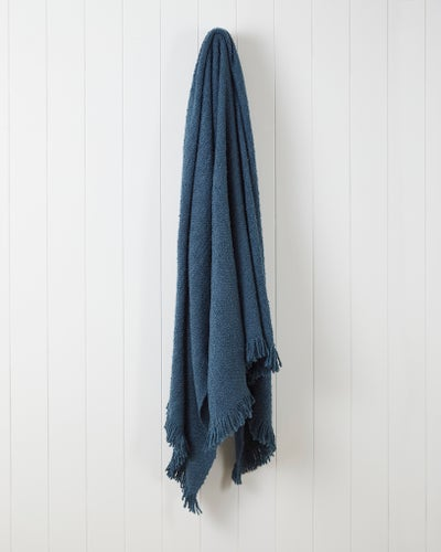 French Blue Boucle Throw
