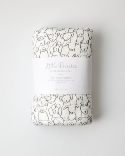 Puppy Cotton Fitted Cot Sheet