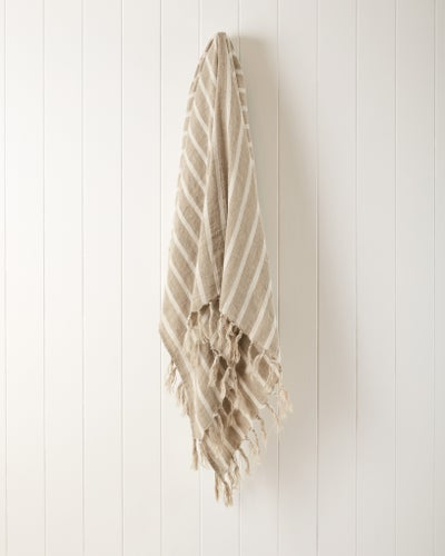 Natural/Off White Striped Linen Throw
