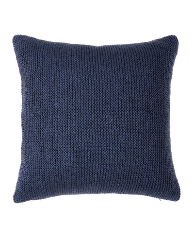 French Blue Woollen Purl Knit Cushion Cover